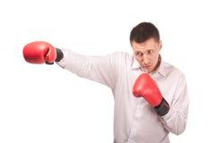 Bisinessman jest ubranym bokserskie rękawiczki Zdjęcie Royalty Free