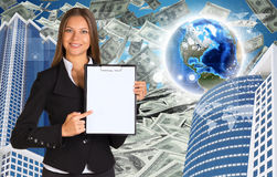Bisinesswoman hold paper holder. Buildings and Royalty Free Stock Images