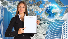 Bisinesswoman hold paper holder. Buildings and Royalty Free Stock Photography