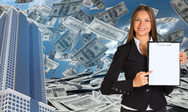 Bisinesswoman hold paper holder. Buildings and Stock Photos
