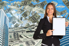 Bisinesswoman hold paper holder. Buildings and Royalty Free Stock Photo