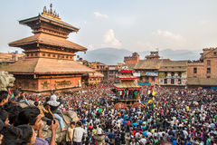 Bisket Jatra in Bhaktapur Immagini Stock Libere da Diritti