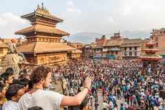 Bisket Jatra celebrations in Bhaktapur. Also known as Biska Jatra this annual festival is celebrated at the start of the new year on the Bikram Sambat calendar royalty free stock image