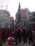 Bisket jatra in kathmandu. Typical event in kathmandu for celebrate the arrive of the New year nepali Stock Image
