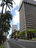 Biskop Street i i stadens centrum Honolulu Arkivbilder