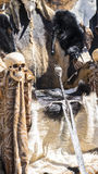 Biskopsstol av pälsar och skallar med ett Viking svärd Stol med djuret Royaltyfri Bild