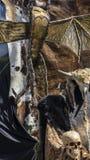 Biskopsstol av pälsar och skallar med ett Viking svärd Stol med djuret Arkivbilder