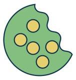Biskuit-Biss, Plätzchen lokalisierte Vektor-Ikone für Partei und Feier lizenzfreie abbildung