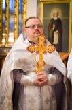 Biskupia usługa w Ortodoksalnym kościół w mieście Gomel Biskup Stephen Obraz Stock