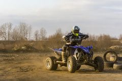 ATV Rider in the action. Biskupice Radlowskie, Poland - January 14, 2018: ATV Rider in the action Stock Image