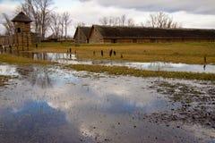 Biskupin - aldea polaca vieja. Imagen de archivo libre de regalías