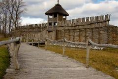 Biskupin - altes polnisches Dorf Stockfoto