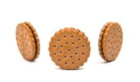Biskwitowa round kanapka odizolowywająca Zdjęcie Royalty Free