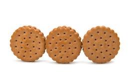 Biskwitowa round kanapka odizolowywająca Zdjęcia Royalty Free