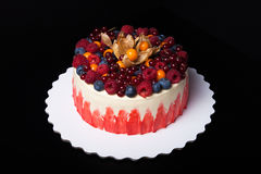 Biskwitowy domowej roboty tort z śmietanką i jagodami Zdjęcie Royalty Free