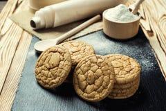 Biskwitowy słodki ciastka tło Domowy brogujący masła ciastko Zdjęcia Royalty Free