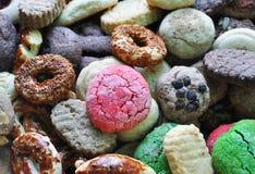 Biskwitowy tło, różni ciastka obrazy royalty free