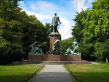 Bismarck Memorial. The Bismarck Memorial (German: Bismarck-Nationaldenkmal), located in the Tiergarten in Berlin, is a prominent memorial statue dedicated to Stock Photo