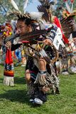 A dancer of the 49th annual United Tribes Pow Wow in Bismark. BISMARK, NORTH DAKOTA, September 8, 2018 : A dancer of the 49th annual United Tribes Pow Wow, one stock photo