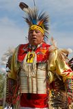After the dance at the 49th annual United Tribes Pow Wow. BISMARK, NORTH DAKOTA, September 8, 2018 : A dancer of the 49th annual United Tribes Pow Wow, one large stock photography