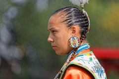 Portarit of a woman dancer of the 49th annual United Tribes Pow Wow in Bismark. BISMARK, NORTH DAKOTA, September 9, 2018 : A dancer of the 49th annual United stock photo
