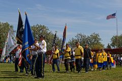 The Grand Entry of the 49th annual United Tribes Pow Wow. BISMARK, NORTH DAKOTA, September 8, 2018 : Grand Entry of the 49th annual United Tribes Pow Wow, one stock photography