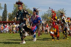 Grand Entry of 49th annual United Tribes Pow Wow. BISMARK, NORTH DAKOTA, September 8, 2018 : 49th annual United Tribes Pow Wow, one of largest outdoor event royalty free stock photo