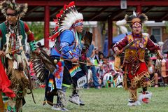 Dancers at the 49th United Tribes Pow Wow in Bismark. BISMARK, NORTH DAKOTA, September 9, 2018 : 49th annual United Tribes Pow Wow, one of largest outdoor event royalty free stock photography