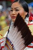Portrait of a woman dancer of the 49th annual United Tribes Pow Wow. BISMARK, NORTH DAKOTA, September 9, 2018 : Women dancers of the 49th annual United Tribes royalty free stock images