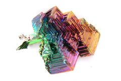Bismuth (Bismuthum - Bi) color metal crystal Stock Photos