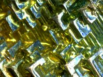 Bismuth crystal. Close up of a Bismuth laboratory made crystal stock photos