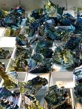 Bismuth Galore at the Rock and Gem Show. Bundles of bismuth  was photographed at the rock and gem show in Turlock California Stock Images