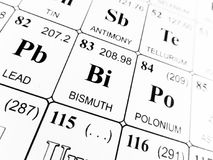 Bismuth on the periodic table of the elements Royalty Free Stock Photo