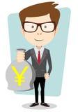 Bisnesmen bag holds the yen, vector illustration Stock Photos