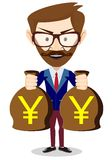 Bisnesmen bag holds the yen, vector illustration Royalty Free Stock Image
