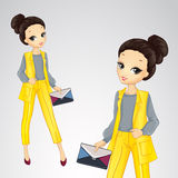 Bisness Girl In Yellow Suit Stock Image