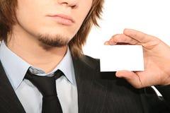 Bisnessman with card Stock Photos
