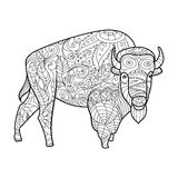 Bison animal coloring book for adults vector Royalty Free Stock Images