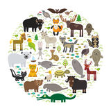 Bison bat manatee fox elk horse wolf partridge fur seal Polar bear Pit viper snake Mountain goat raccoon Eagle skunk parakeet Jagu Royalty Free Stock Image