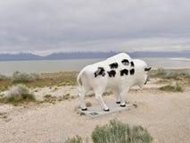Bison Buffalo Statue bij het Park van de Staat van het Antilopeeiland, Salt Lake City, Utah royalty-vrije stock afbeelding
