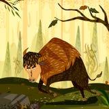 Bison d'animal sauvage à l'arrière-plan de forêt de jungle illustration de vecteur