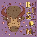 Bison doodle poster stock illustration