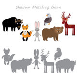 Bison fox hare rabbit Eagle Bear Deer isolated on white background, Shadow Matching Game for Preschool Children. Find the correct. Shadow. Vector illustration Royalty Free Stock Photos