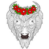 Bison head doodle Royalty Free Stock Image