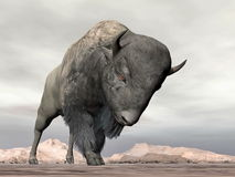 Bison charging - 3D render Royalty Free Stock Photos