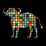 Bison mammal color silhouette animal Royalty Free Stock Image