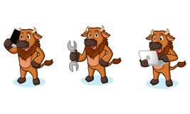 Bison Mascot Vector con il computer portatile Fotografia Stock