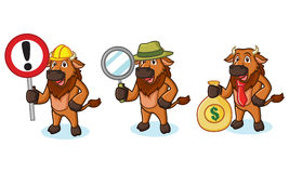 Bison Mascot Vector with money. Sign and magnifying Stock Photos