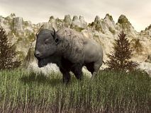 Bison in the nature - 3D render Royalty Free Stock Images