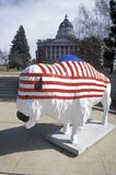 Bison painted with American flag, Community art project, Winter Olympics, state capitol, Salt Lake City, UT Royalty Free Stock Images